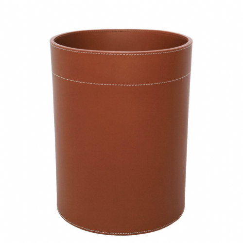 Leather Waste Paper Basket - Black or Cognac